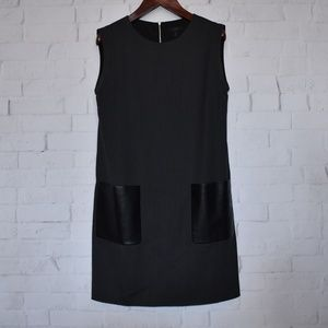 J CREW FAUX LEATHER POCKET SHIFT DRESS Size 12